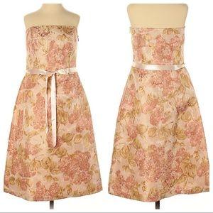 Ann Taylor Jacquard Metallic Floral Cocktail Dress